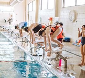 group of experienced swimmers after their private lessons wrapped up